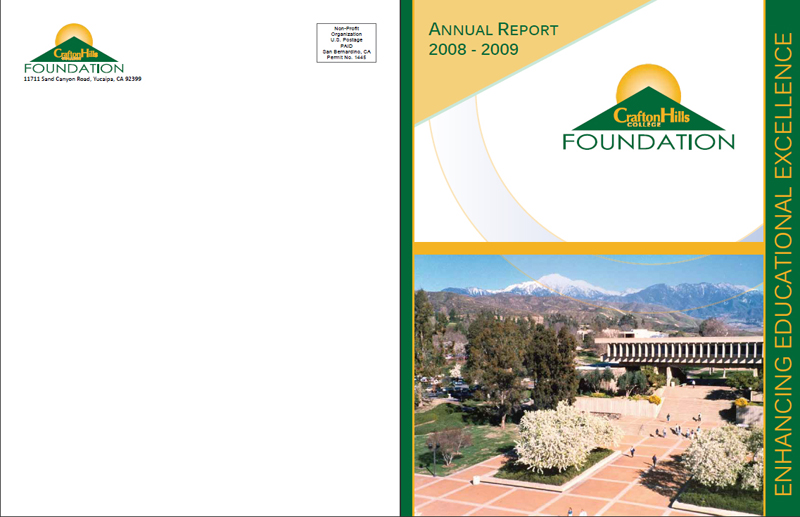 Crafton Hills College Foundation 2008 / 2009 Report - Front & Back Cover