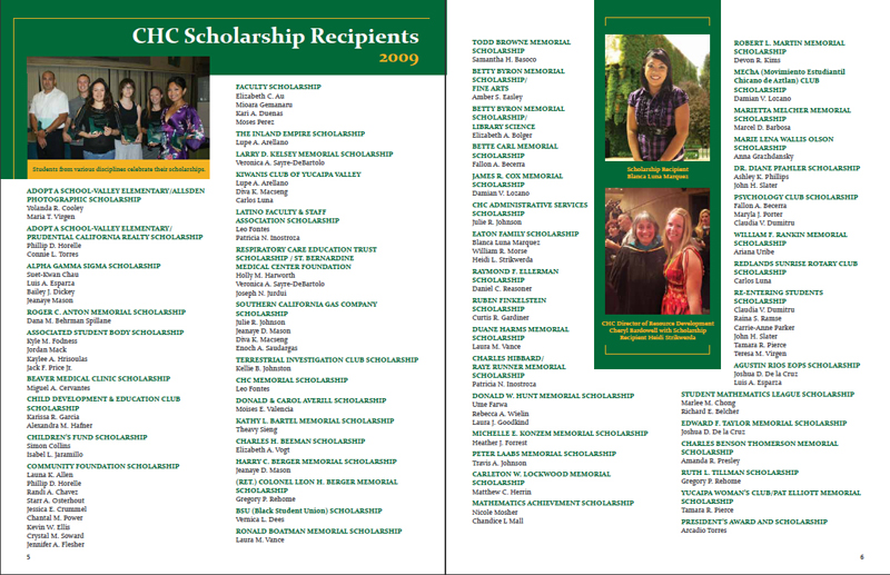 Crafton Hills College Foundation 2008 / 2009 Report - Pages 5 & 6