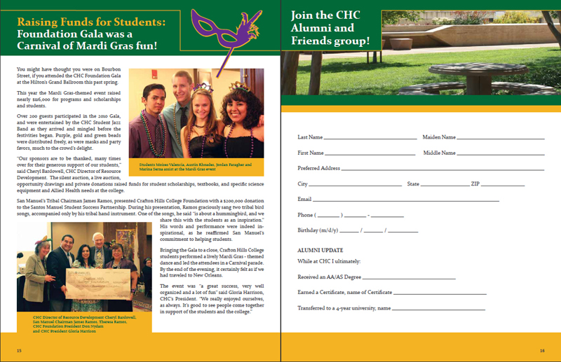 Crafton Hills College Foundation 2008 / 2009 Report - Pages 15 & 16