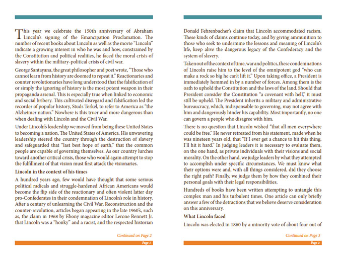 LRNA Abraham Lincoln Booklet - Pages 1 & 2