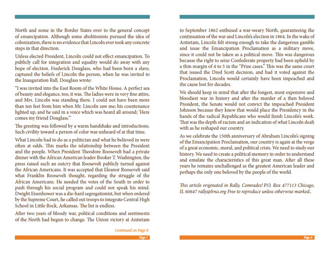 LRNA Abraham Lincoln Booklet - Pages 7 & 8