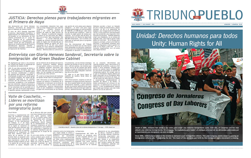 Tribuno Del Pueblo - July / August 2013 - Front & Back Cover