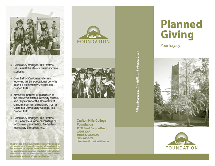 planned giving brochures templates crafton hills college foundation planned giving brochure