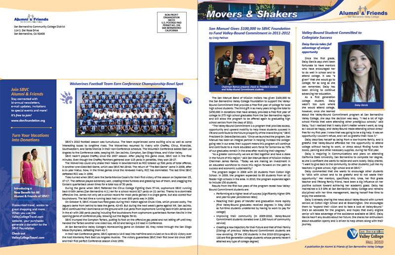 San Bernardino Valley College Alumni & Friends Newsletter - Front & Back Covers