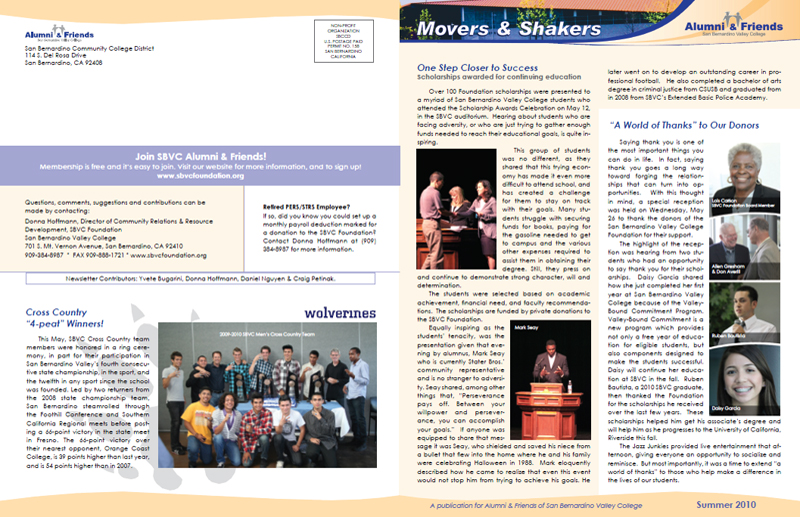 San Bernardino Valley College Alumni & Friends Summer 2010 Newsletter - Front & Back Covers