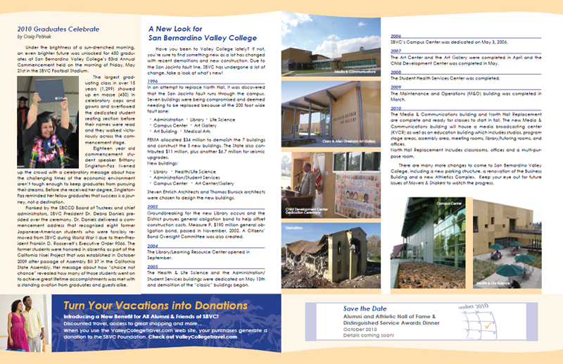 San Bernardino Valley College Alumni & Friends Summer 2010 Newsletter - Inner Pages