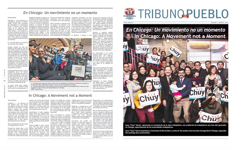 Tribuno Del Pueblo - April May 2015 - Front & Back Cover