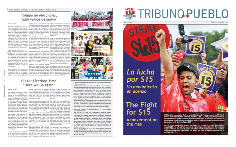 Tribuno Del Pueblo - August September 2015 - Front & Back Cover