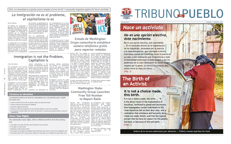 Tribuno Del Pueblo - February March 2016  - Front & Back Cover
