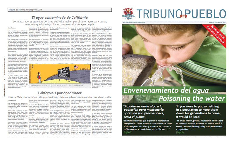Tribuno Del Pueblo – Flint Water Crisis - March 2016 - Front & Back Cover