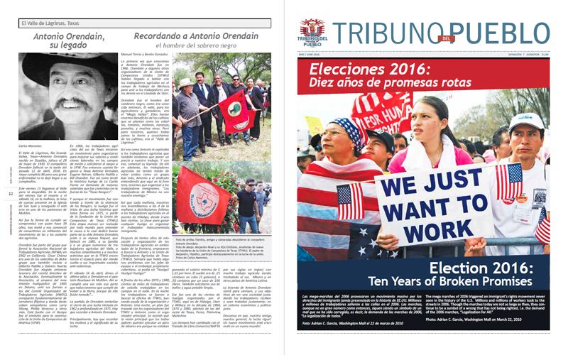 Tribuno Del Pueblo - May June 2016  - Front & Back Cover