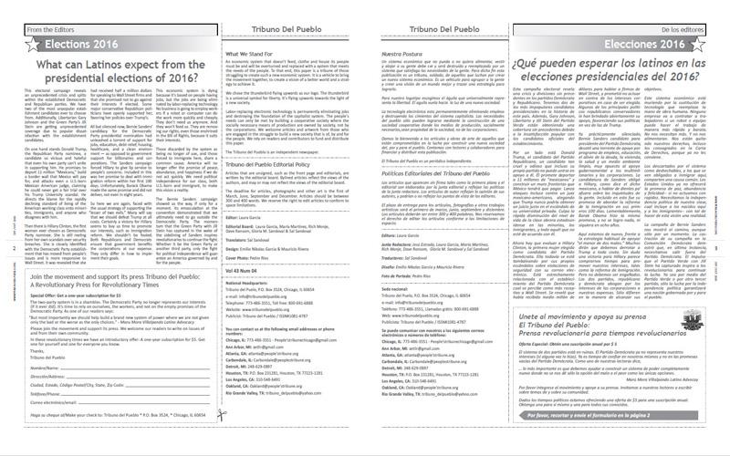 Tribuno Del Pueblo – September October 2016  - Pages 2 & 3