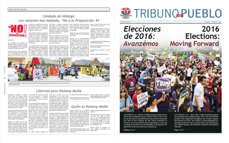 Tribuno Del Pueblo – December 2016 January 2017  - Front & Back Cover