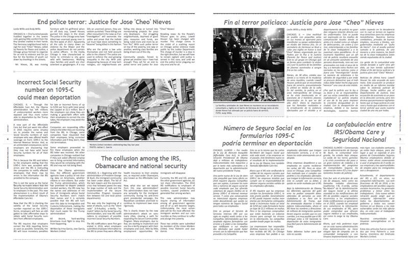 Tribuno Del Pueblo – March April 2017  - pages 4 and 5