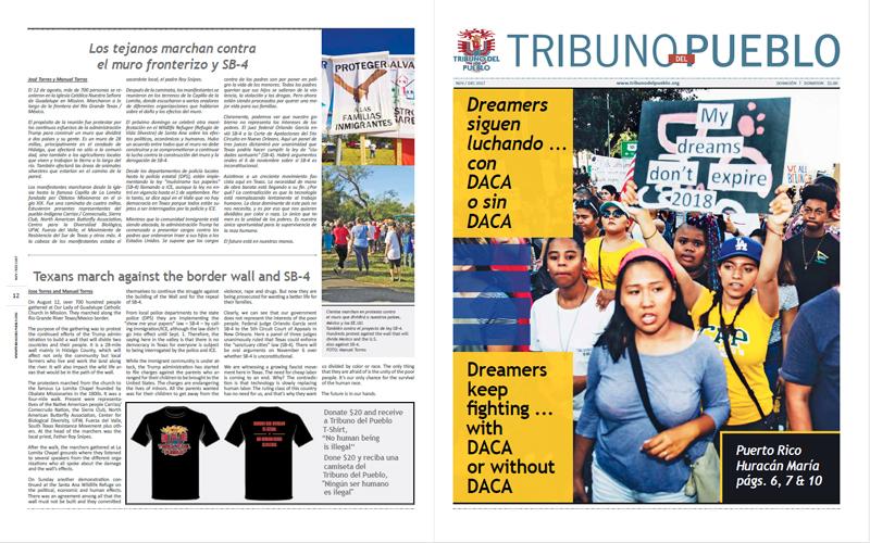Tribuno Del Pueblo – November December 2017 - Front & Back Cover