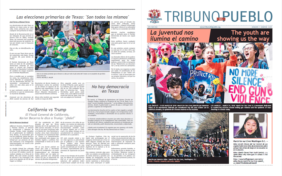 Tribuno Del Pueblo April May 2018 - front and back cover