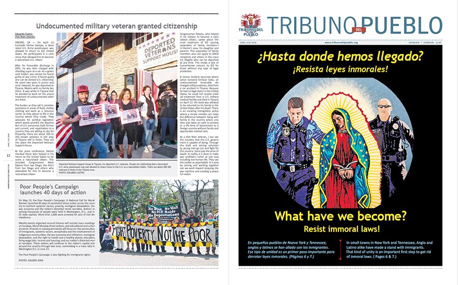 Tribuno Del Pueblo June July 2018 - front and back cover
