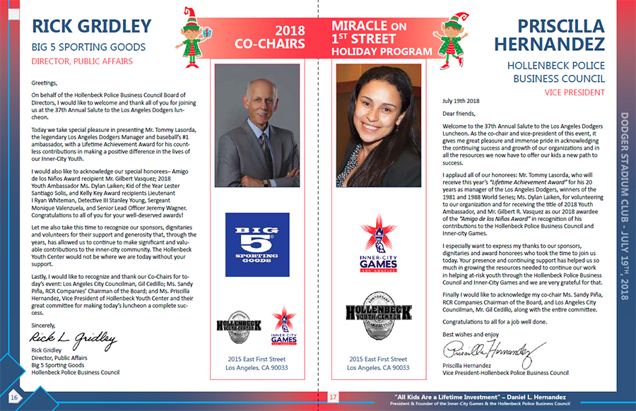 Hollenbeck Dodgers Book 2018 Pages 16 and 17