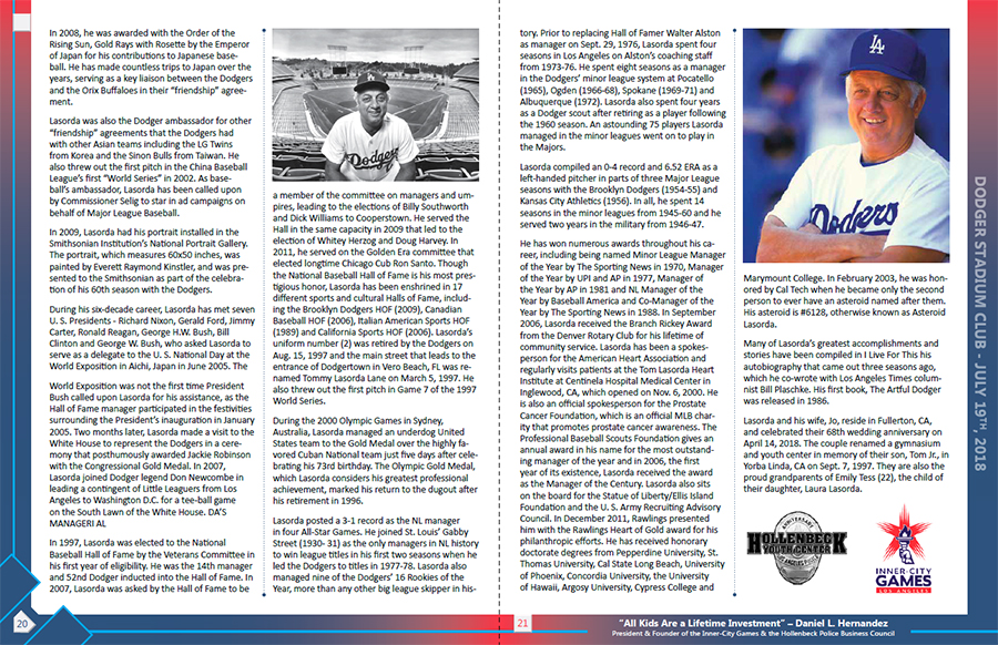 Hollenbeck Dodgers Book 2018 Pages 20 and 21
