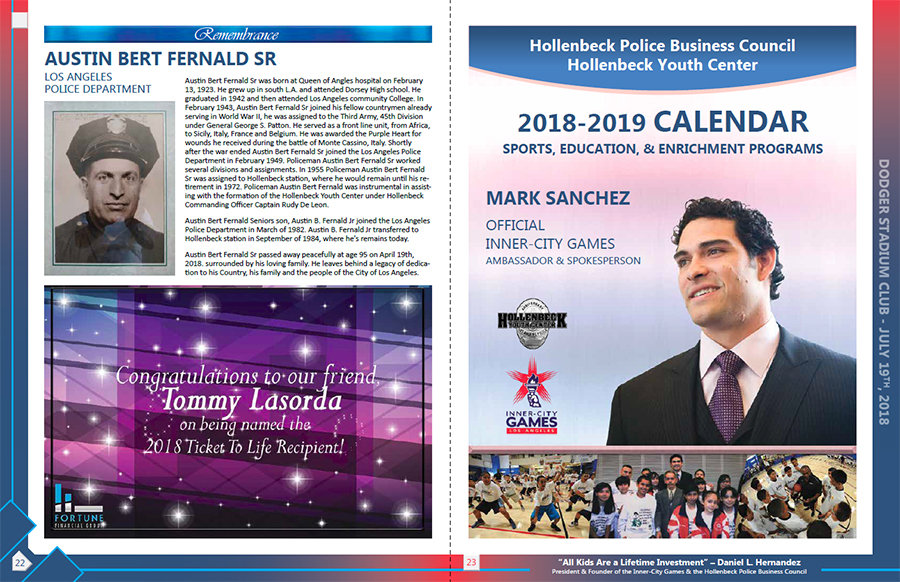 Hollenbeck Dodgers Book 2018 Pages 22 and 23