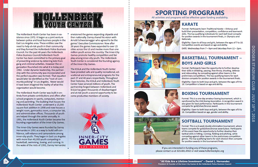 Hollenbeck Dodgers Book 2018 Pages 24 and 25