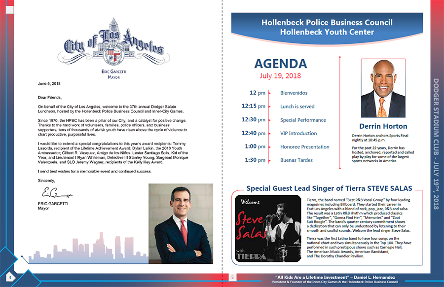 Hollenbeck Dodgers Book 2018 Pages 4 and 5