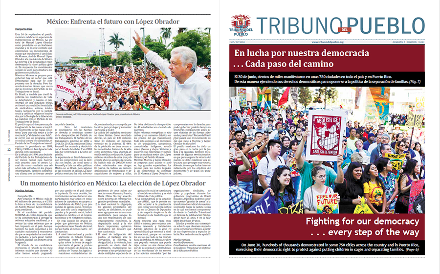 Tribuno Del Pueblo September October 2018 - front and back cover