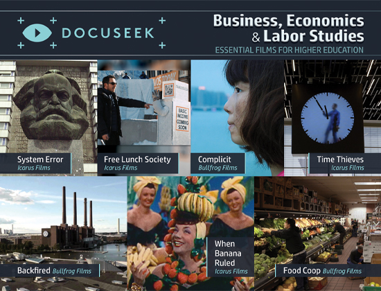 Docuseek Promotional Postcard for Business, Economics and Labor Studies