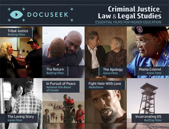 Docuseek Promotional Postcard for Criminal Justice, Law and Legal Studies